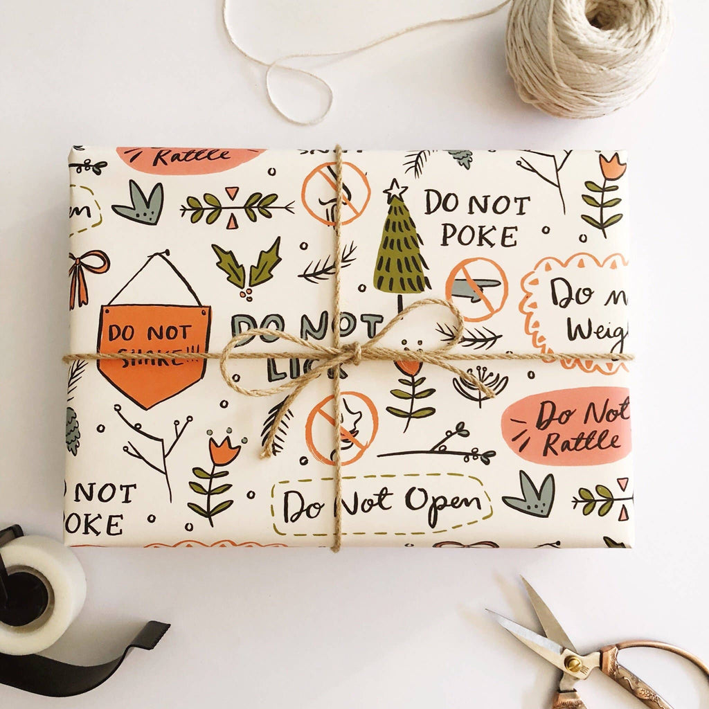Do Not Open Illustrated Wrapping Paper - 3 sheet roll - Freshie & Zero Studio Shop