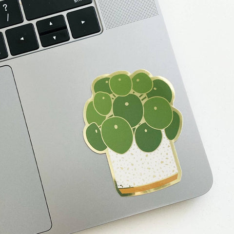 Metallic Sticker: Pilea Plant