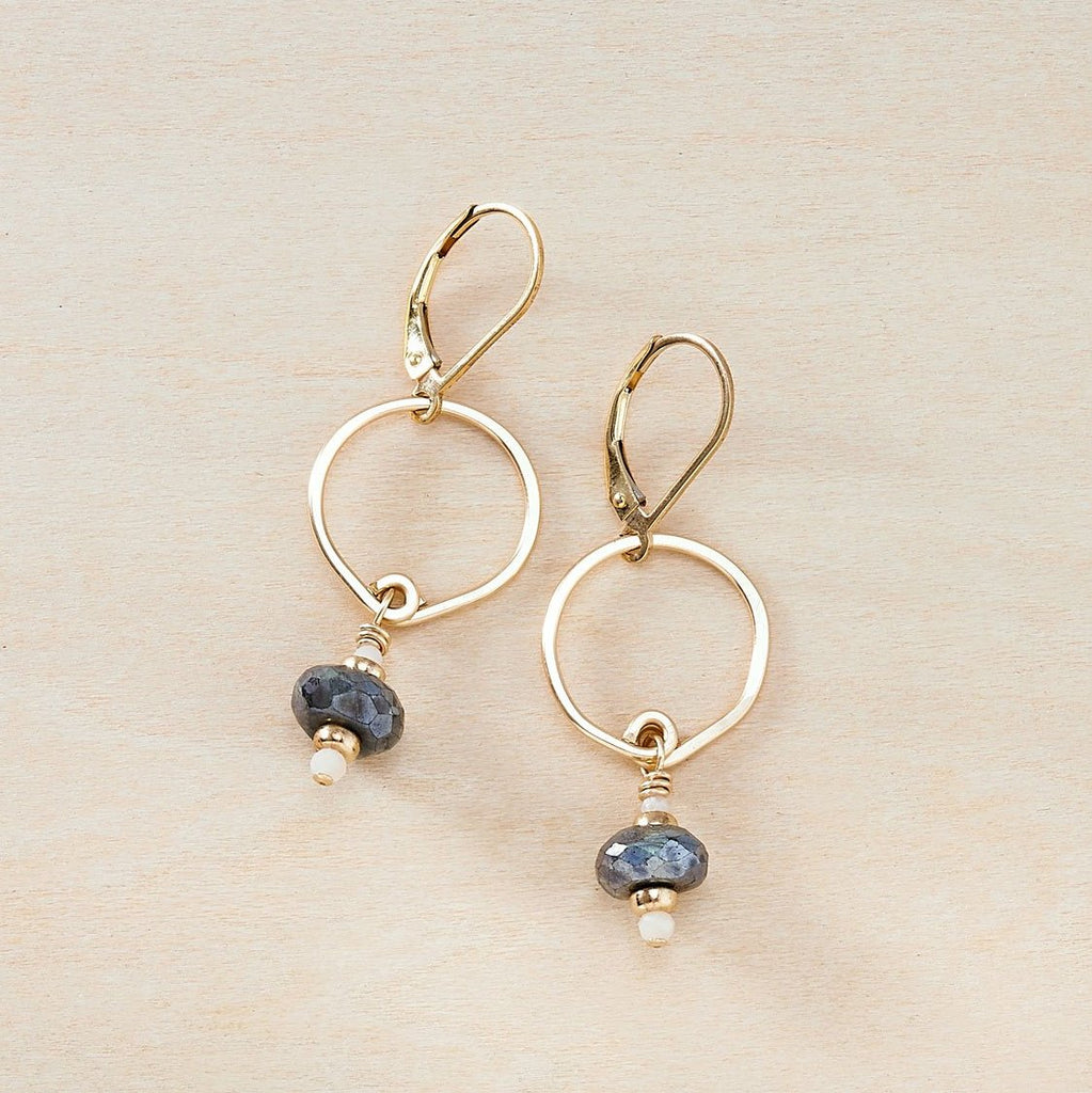 Dusky Coast Earrings -  Mystic Labradorite and Gold - Freshie & Zero | artisan handmade hammered jewelry | handmade in Nashville, TN