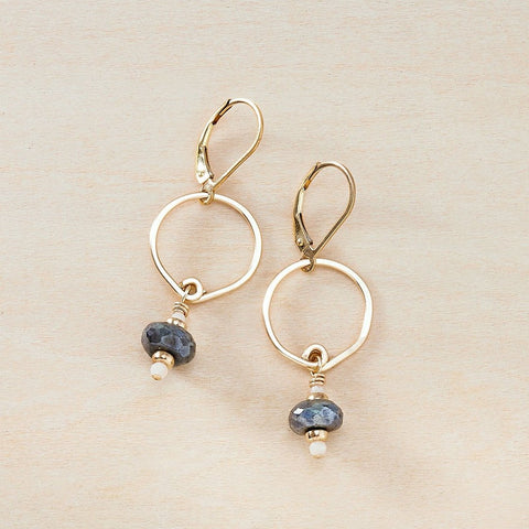 Dusky Coast Earrings -  Mystic Labradorite and Gold