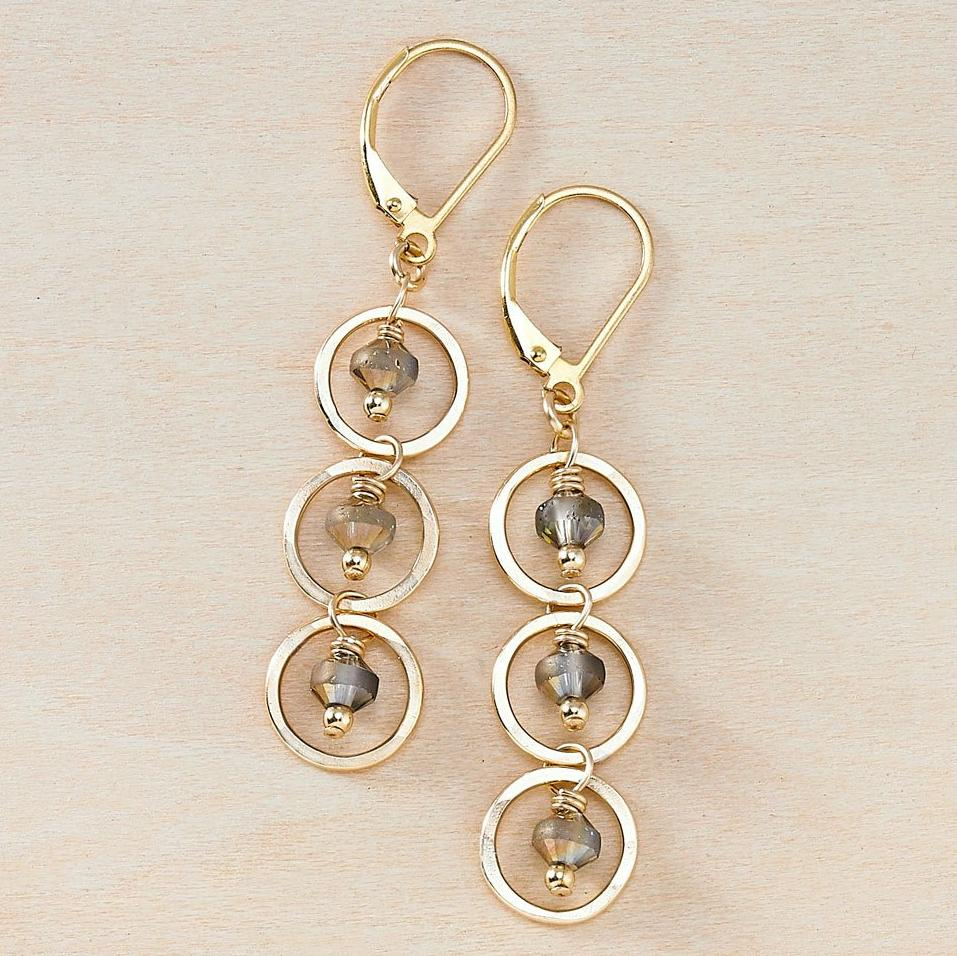 Cascading Charcoal Crystals and Gold Circles Dusky Coast Earrings - Freshie & Zero | artisan handmade hammered jewelry | handmade in Nashville, TN