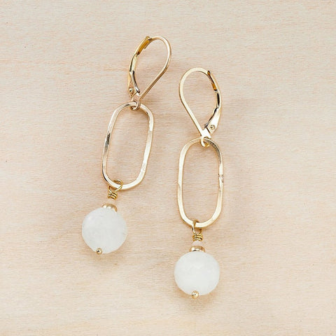 Dusky Coast Earrings -  Rainbow Moonstone and Gold