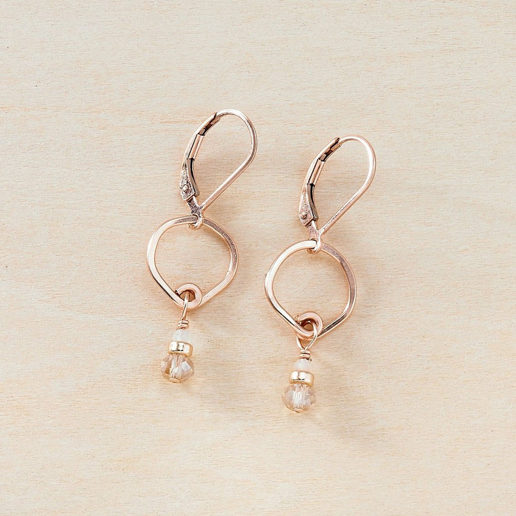 Dusky Coast Earrings -  Champagne Crystal and Rose Gold - Freshie & Zero | artisan handmade hammered jewelry | handmade in Nashville, TN