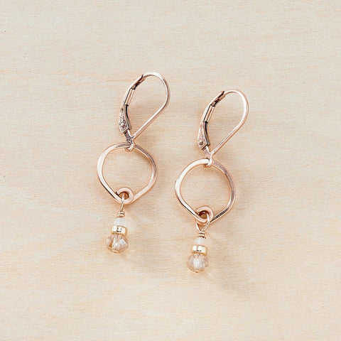 Dusky Coast Earrings -  Golden Wheat Crystal and Rose Gold