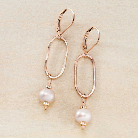 Dusky Coast Earrings -  Peach Pearl and Rose Gold