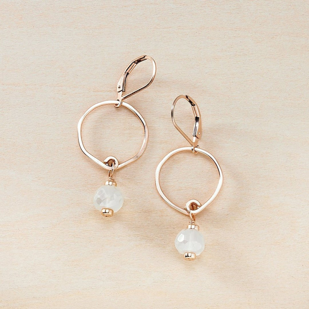 Breezy Moonstone and Rose Gold Dusky Coast Earrings - Freshie & Zero | artisan handmade hammered jewelry | handmade in Nashville, TN