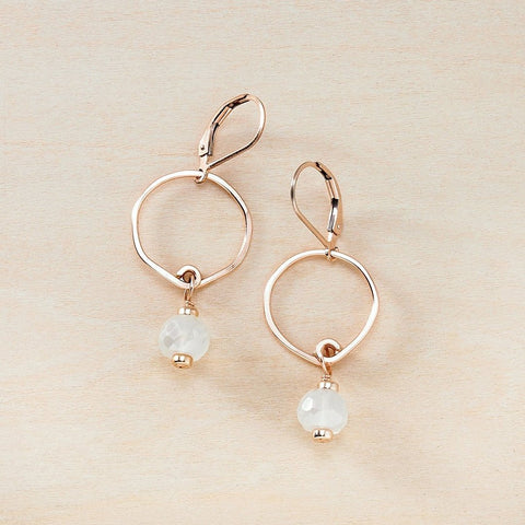 Dusky Coast Earrings -  Moonstone and Rose Gold