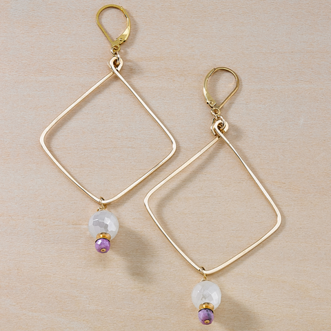After Party Mystic White and Mauve Quartz Gold Dusky Coast Earrings