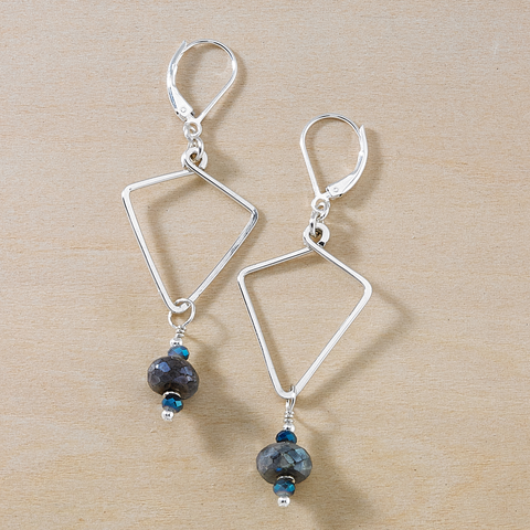 Vivid Seaside Blue Crystal and Mystic Charcoal Quartz Dusky Coast Earrings