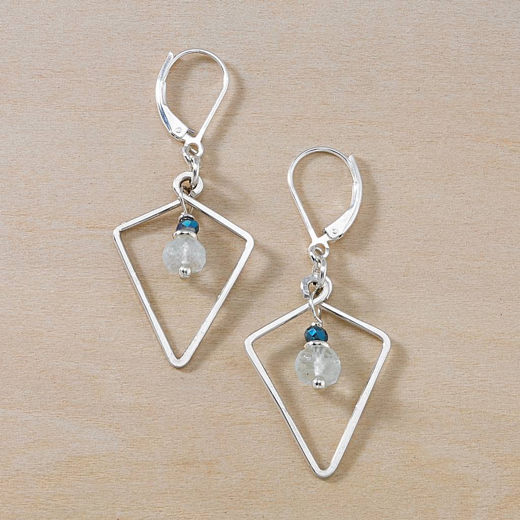 Vivid Ocean Aquamarine Silver Geometric Dusky Coast Earrings - Freshie & Zero | artisan handmade hammered jewelry | handmade in Nashville, TN
