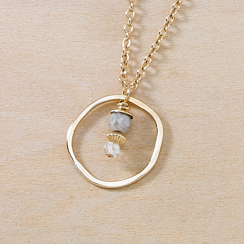 Sunrise Moonstone and Gold Circle Dusky Coast Necklace - Freshie & Zero | artisan handmade hammered jewelry | handmade in Nashville, TN