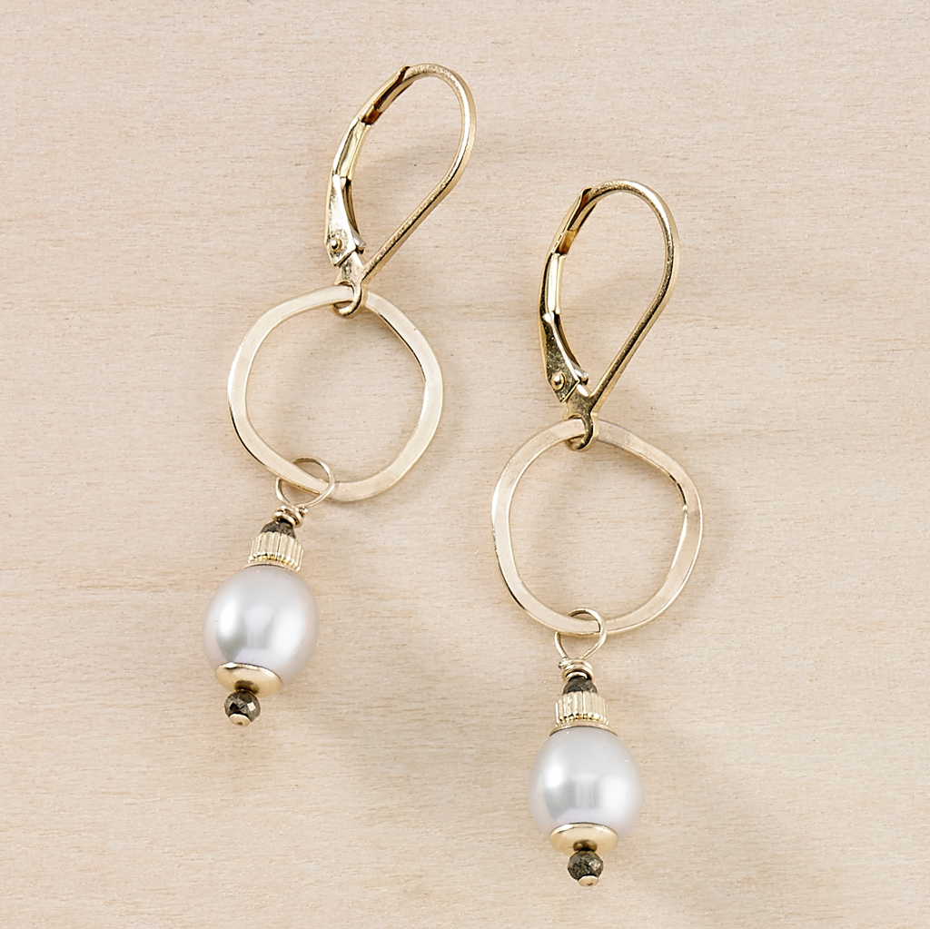 Wave Grey Pearl and Gold Drop Earrings - Freshie & Zero | artisan handmade hammered jewelry | handmade in Nashville, TN