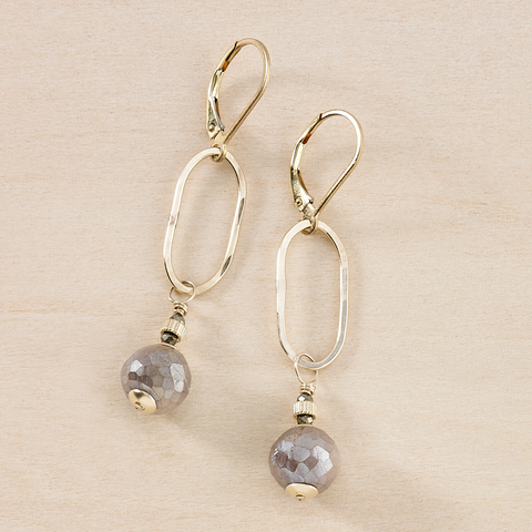 Dusky Coast Earrings - Smoky Peach Moonstone and Gold