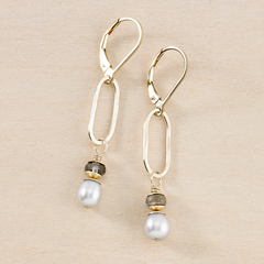 Fog Grey Pearl Gold Drop Earrings - Dusky Coast - Freshie & Zero | artisan handmade hammered jewelry | handmade in Nashville, TN