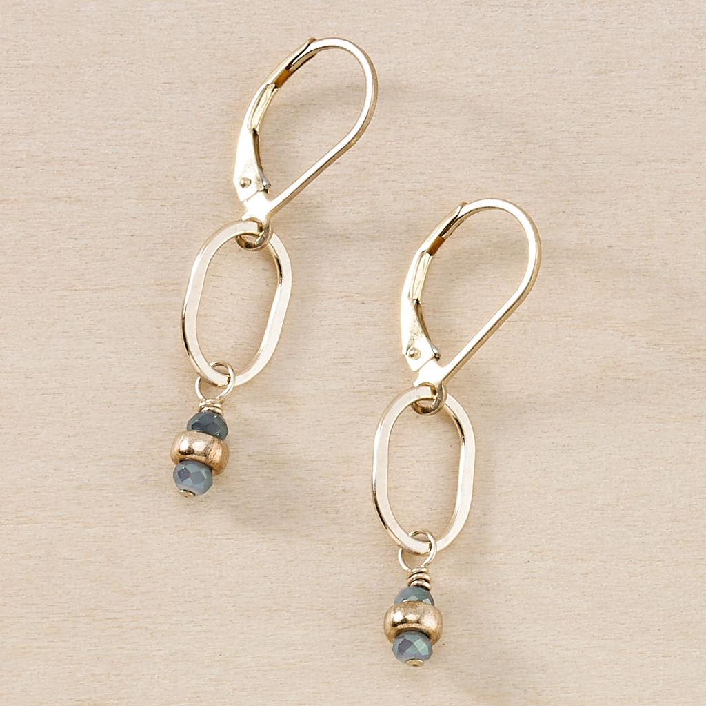 Tidal Blue Tiny Gold Earrings - Freshie & Zero | artisan handmade hammered jewelry | handmade in Nashville, TN