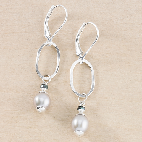 Dusky Coast Earrings - Gray Pearl and Blue Crystal