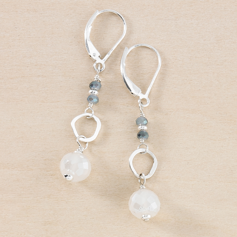 Dusky Coast Earrings - Silver Moonstone Drops