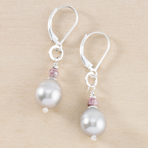 Dusky Coast Earrings - Gray Pearl Drop with Mystic Rose Quartz