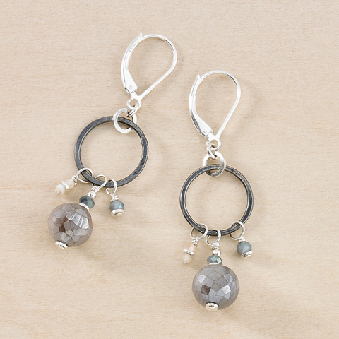 Dusky Coast Earrings -  Moonstone and Black Silver