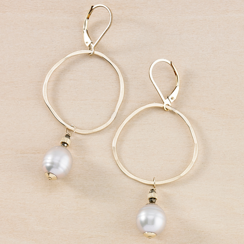 Dusky Coast Earrings - Gold Circle and Gray Pearl Drop
