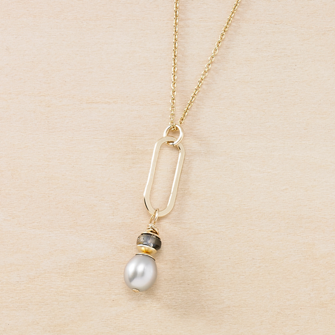 Dusky Coast Necklace - Gray Pearl Pendant