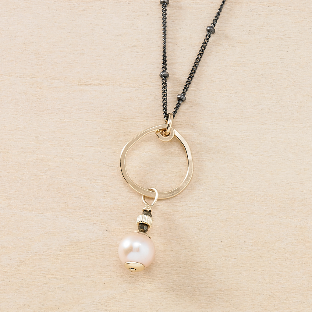 Castaway Dotted Black Chain with Peach Pearl Pendant Ducky Coast Necklace - Freshie & Zero | artisan handmade hammered jewelry | handmade in Nashville, TN