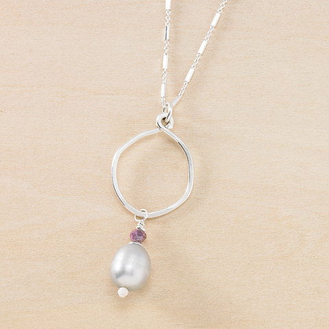 Dusky Coast Necklace - Gray Pearl and Silver Mixed Chains