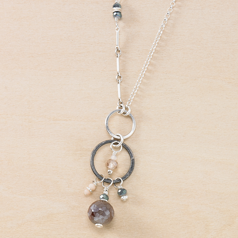Dusky Coast Necklace - Mixed Silver Chains and Peach Moonstone