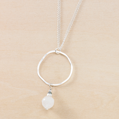 Dusky Coast Necklace - Moonstone Drop and Silver Circle Pendant