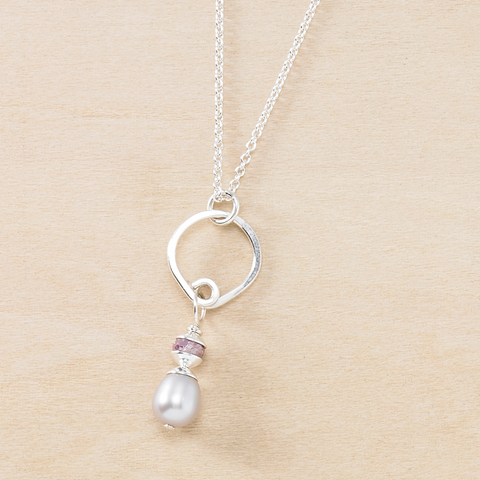 Dusky Coast Necklace - Gray Pearl and Quartz Pendant