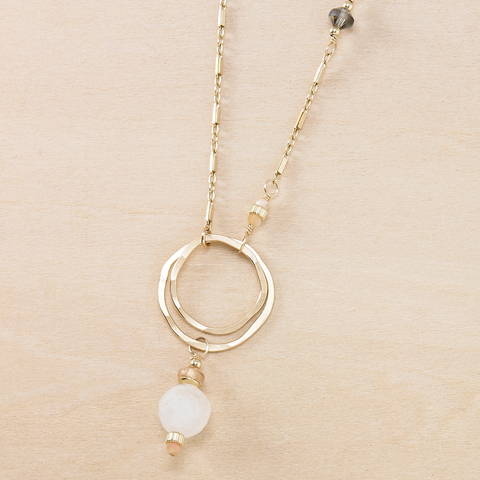 Dusky Coast Necklace - Moonstone and Champagne Crystal Pendant on Mixed Chains