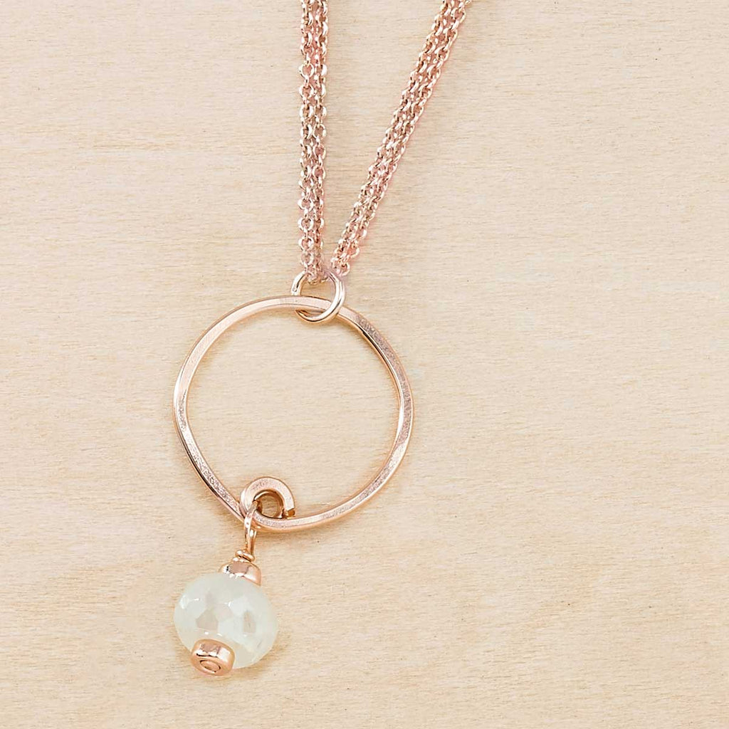 Breezy Moonstone and Rose Gold Dusky Coast Necklace - Freshie & Zero | artisan handmade hammered jewelry | handmade in Nashville, TN