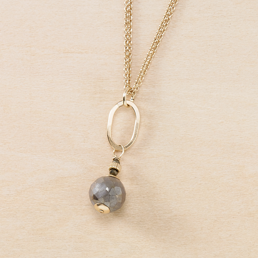 Dusky Coast Necklace - Gold Oval and Labradorite Drop - Freshie & Zero | artisan handmade hammered jewelry | handmade in Nashville, TN