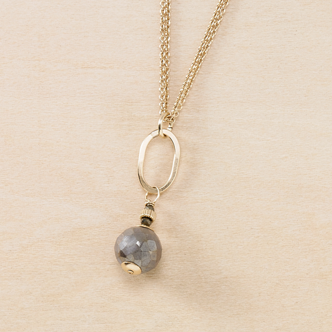 Dusky Coast Necklace - Gold Oval and Labradorite Drop