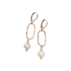Riptide Peach Pearl and Rose Gold Dusky Coast Earrings - Freshie & Zero | artisan handmade hammered jewelry | handmade in Nashville, TN