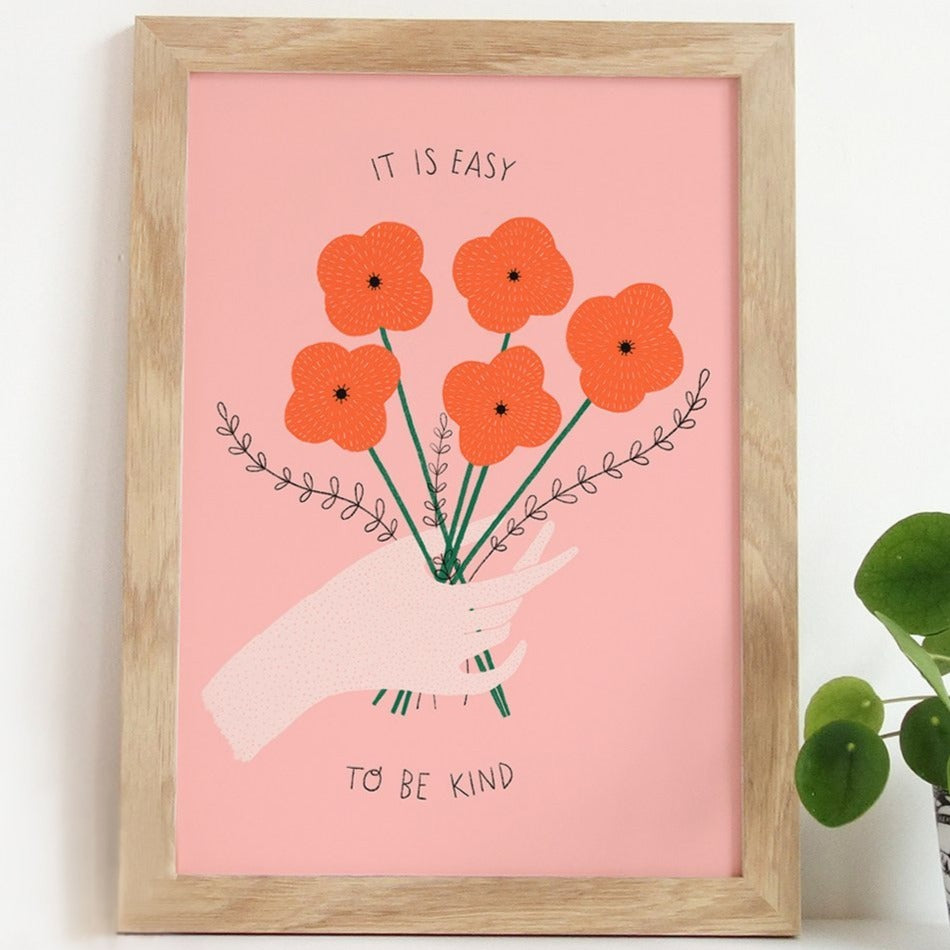 It Is Easy To Be Kind Art Print by Gingiber - 8x10 - Freshie & Zero Studio Shop