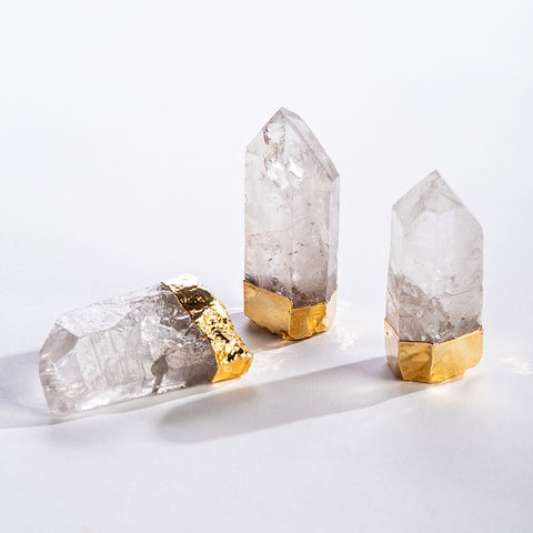 Natural Quartz Point w/ Gold