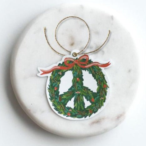 Holiday Die Cut Gift Tags - Peace Wreath - Freshie & Zero Studio Shop
