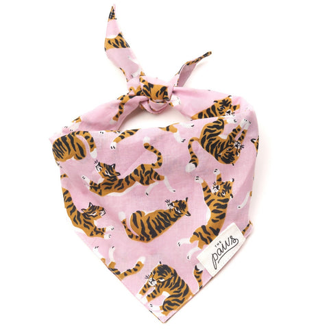 Pet Bandana - Tigers on Pink