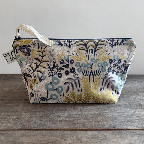 Cosmetic Bag In Metallic Garden Fabric by Rifle Paper Co