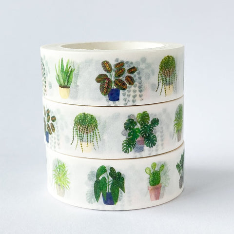 Washi Tape: Indoor Plants on White