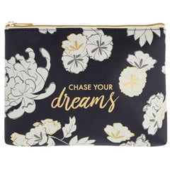 Floral Chase Your Dreams Cosmetic Pouch - Freshie & Zero | artisan handmade hammered jewelry | handmade in Nashville, TN