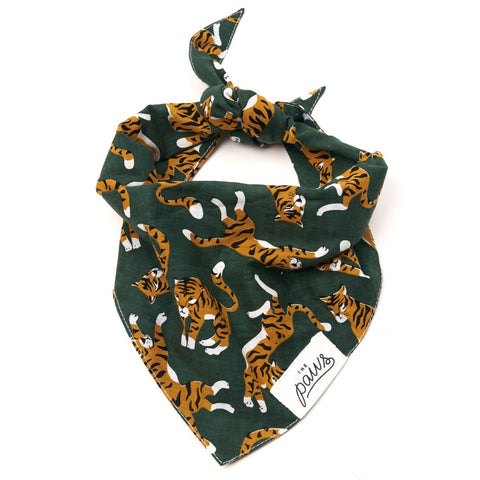 Pet Bandana - Tigers on Forest Green