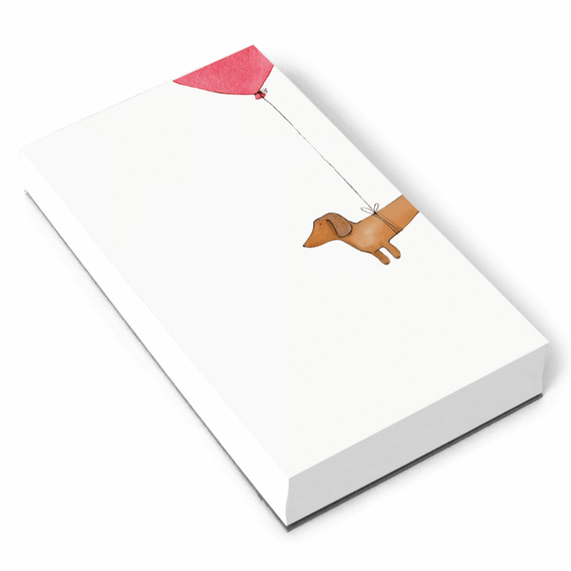 dachshund hot dog balloon notepad e frances paper shop independent makers