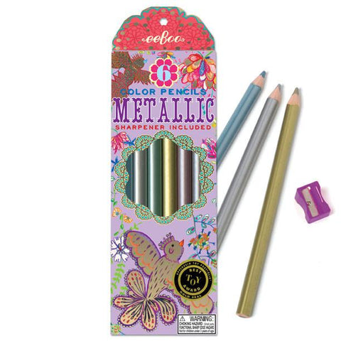 6 Chunky Metallic Colored Pencils - Birds