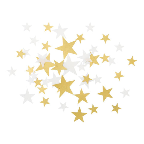 Star Confetti White and Gold