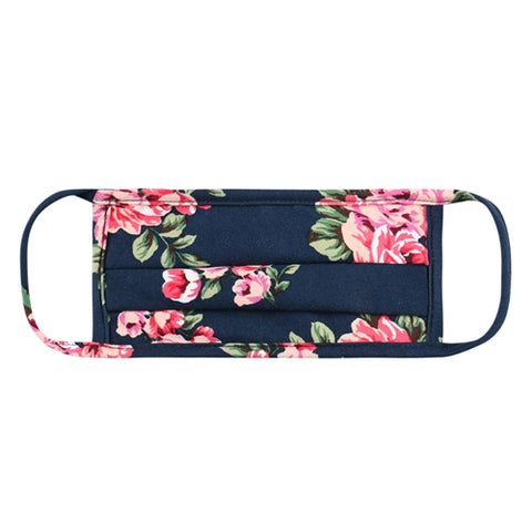 Super Soft Navy Floral Pleated Adult Face Mask
