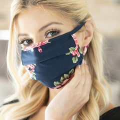 Super Soft Navy Floral Pleated Adult Face Mask - Freshie & Zero Studio Shop