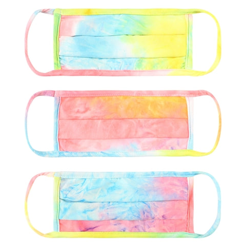 Super Soft Rainbow Tie Dye Pleated Adult Face Mask