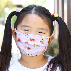 Soft Face Mask for Kids - Purple Floral